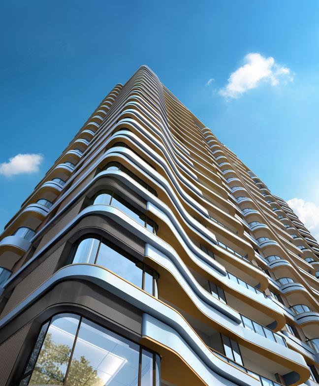 """打破常规的""""横平竖直""""立面,11幢建筑外立面采用流线型艺术设计,将市心"""